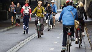 Folk cyklar på jobb protestdagen den 18.9.