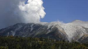 Vit rök stiger upp ur den japanska Vulkanen Ontake den 28 september 2014.