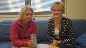 Ilse Klockars och Ulrica Isaksson i God morgon Västnylands studio.