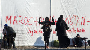 Migranter i tältläger vid gränsen till Makedonien 9.11.2015
