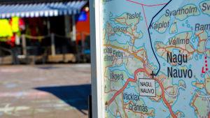Turistkarta vid Kyrkbacken i Nagu