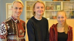 Porträttbild på Christoffer Strandberg, Oliver Österberg och Ebba Lindblom.