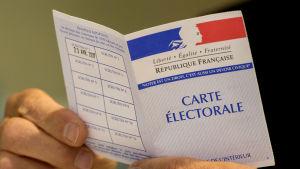 Id-kort för presidentvalet i Frankrike.