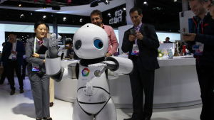 Robot vid Mobile World Congress i februari 2017.