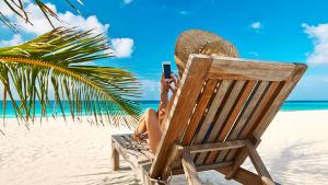 En kvinna i en solstol på en strand sitter och petar på en smarttelefon.