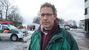 Niklas Kallenberg deltog som frivillig i sjöräddningsövningen utanför Replot.
