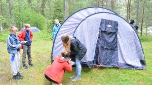 Scouter reser ett tält