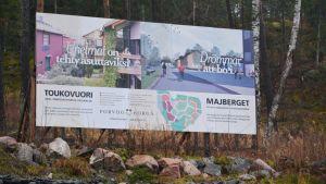 Skylt över Majbergets bostadsområde i borgå
