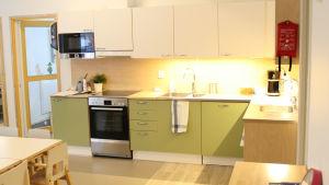 Ett modernt kök med gröna och vita skåpdörrar.