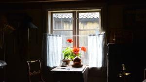 Ett fönster inne i ett av de gamlahusen på Klosterbacken.