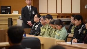 Rättegången mot den sydkoreanska olycksfärjan Sewols besättningsmedlemmar.