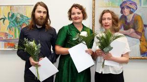 Årets stipendiater är Nestori Syrjälä, Erika Adamsson och Marjatta Holma.