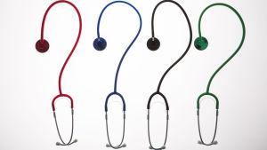 Symbolbild med stetoskop som formar ett frågetecken.
