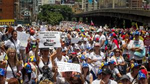 Demonstration mot Nicolas Maduro i Caracas, Venezuela