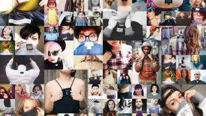 Fashion Revolutions promobild på människor som vänt ut och in på sina kläder.