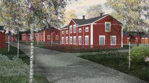 LKL Arkitekter har skissat upp olika konceptbilder för hur traditionsbyn kunde se ut.