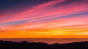 Solnedgång över Stilla havet, Paranal, Chile.