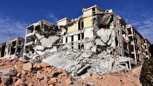 Husruiner i utkanterna av Aleppo efter att området återerövrats av regeringsstyrkor 12.11.2016