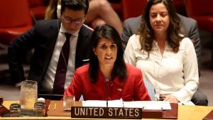 Nikki Haley är USA:s FN-ambassadör.
