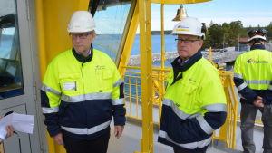 Mats Rosin och Kaj Jansson ombord på hybridfärjan Elektra.