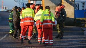 Många olika myndigheter deltog i sjöräddningsövningen