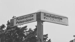 vägskylt petasvägen/fredsbyvägen i lovisa