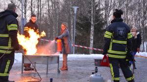 Brandövning vid Vasa yrkesinstutut