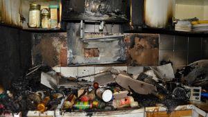 Lägenhet brann i Nickby.
