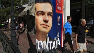 Valreklam för Alexis Tsipras och Syriza på gatan i Aten.