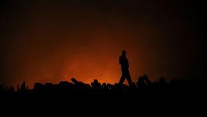En man inspekterar skadorna efter att elden har dragit vidare.