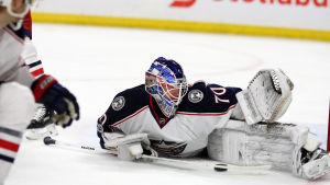 Joonas Korpisalo vaktar målet i Columbus Blue Jackets i NHL.