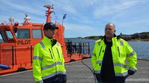 Lotskutterförarna Petri Sariola och Krister Henriksson