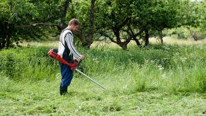Sommararbetare i trädgård med ogräsklippare.