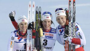 Heidi Weng, Marit Björgen, Astrid Jacobsen.