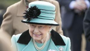 Drottning Elizabeth i  West Newton nära Sandringham den 5 februari 2017