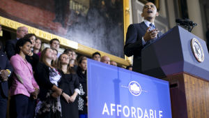 Barack Obama pratar om Obamacare i Boston, Massachusetts i oktober 2013.