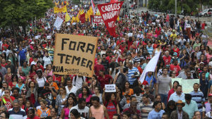 Demonstration mot Michel Temers regering i Sao Paulo 22.5.2016