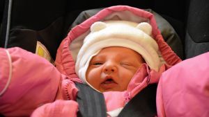 Den sista babyn som föddes på Borgå sjukhus år 2016