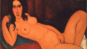 """""""Liggande naken med utsläppt hår"""". Nakenporträtt av den italienska konstnären Modigliani"""