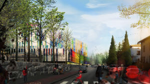 Så här kommer det nya barnsjukhuset att se ut från Stenbäcksgatan.