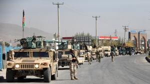 Vägspärr i Ghazni i Afghanistan.