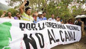 Protester mot kanalbygget i Nicaragua.