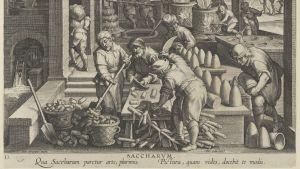 Sokerin valmistus sokeriruo'osta n. 1600-luvulla.