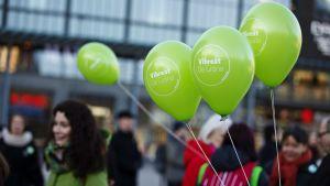 De grönas kampanjöppning inför riksdagsvalet i Helsingfors den 12 mars 2015.