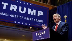 Affärsmannen och miljardären Donald Trump ger sig in i kampen om republikanernas presidentkandidatur i USA.