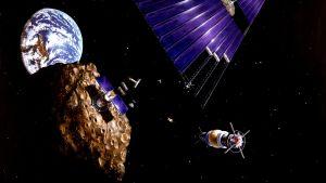 Konstnärens föreställning av gruvdrift i rymden.