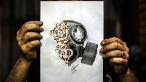 En teckning av den syriska konstnären Akram Abu al-Foz till minnet av gasattacken i Ghouta
