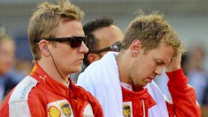 Kimi Räikkönen och Sebastian Vettel, Ferrari, våren 2015.