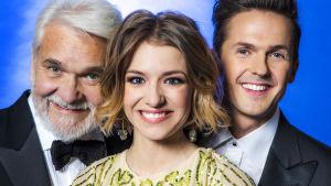 Programledarna i Melodifestivalen 2017, David Lindgren, Clara Henry och Hasse Andersson.
