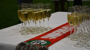 Fyllda skumvinsglas står på rad på ett bord bredvid en Pargas IF supporterhalsduk.